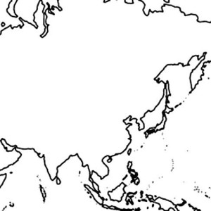 Asian World Map Coloring Page