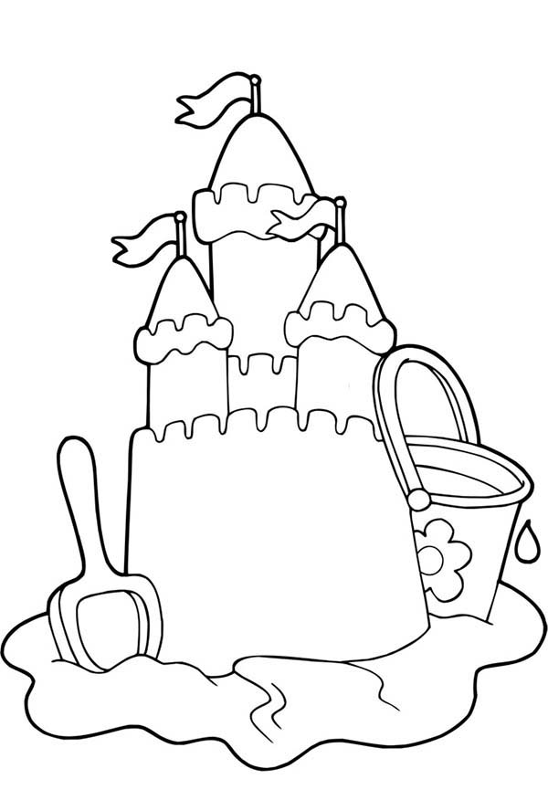 Beautiful Sand Castle Picture Coloring Page Download Print