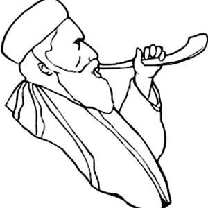 Blowing Shofar In Rosh Hashanah Coloring Page