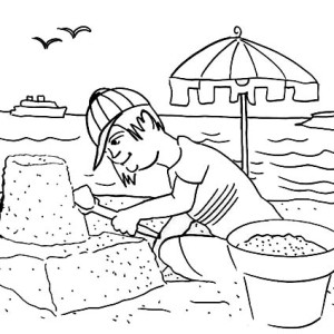 Boy Build Sand Castle On Seaside Coloring Page