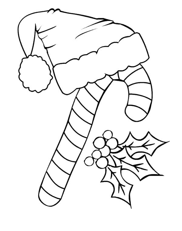 candy cane candy cane and santa claus hat coloring page candy cane and santa