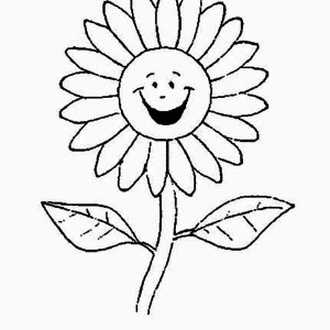 Cartoon Of Laughing Daisy Flower Coloring Page