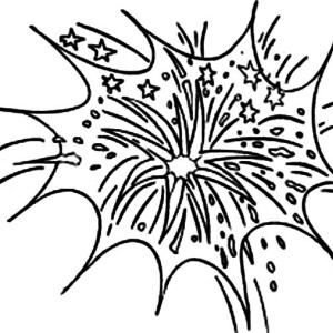 Celebrate New Year With Fireworks Coloring Page