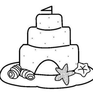 Clamshell And Sand Castle Coloring Page
