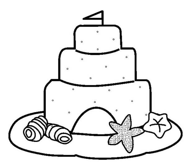 Clamshell And Sand Castle Coloring Page Download Print Online