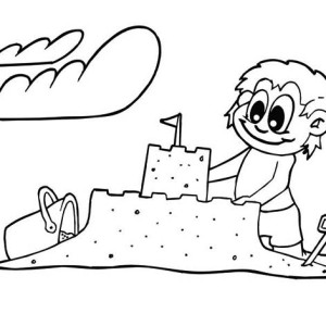 Creative Sand Castle Coloring Page