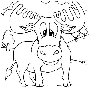 Cute Baby Moose Coloring Page