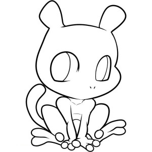 Cute Chibi Mewtwo Coloring Page
