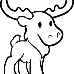 Cute Moose Coloring Page