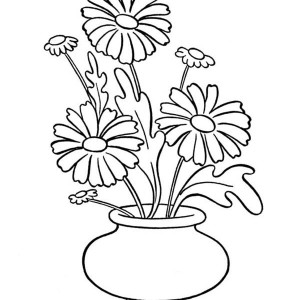 Daisy Flower In Vase Coloring Page