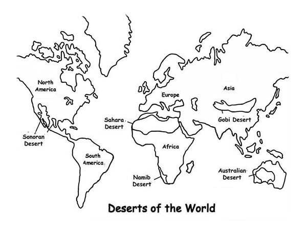 Deserts of the world in world map coloring page download print world map deserts of the world in world map coloring page deserts of the gumiabroncs Image collections