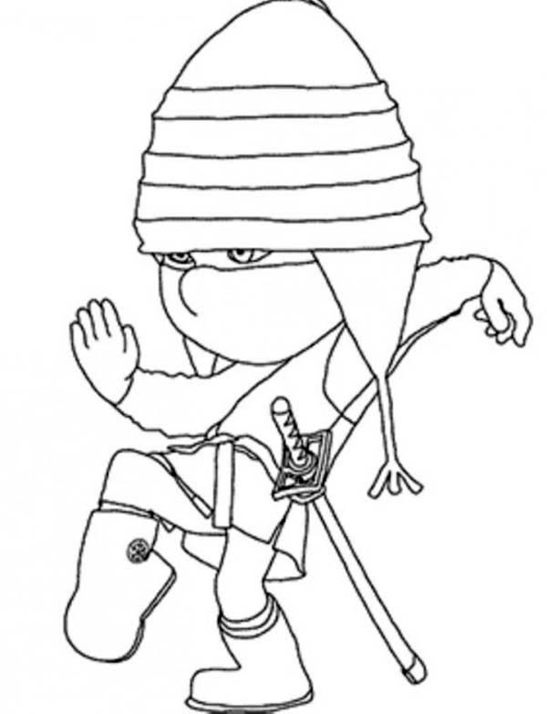 Edith Playing Ninja In Despicable Me 2 Coloring Page Download