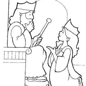 Esther Become King's Harem In Purim Coloring Page