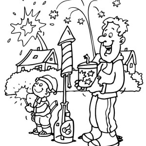Father And Son Play Fireworks In New Year Eve Coloring Page
