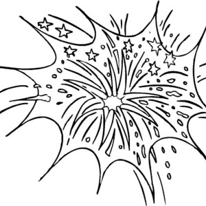 Fireworks Above The City Sky Coloring Page