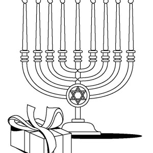 Full Lights Of Menorah On Passover Day Coloring Page
