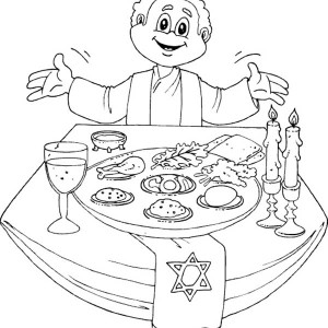 Having A Happy Passover Dinner Coloring Page