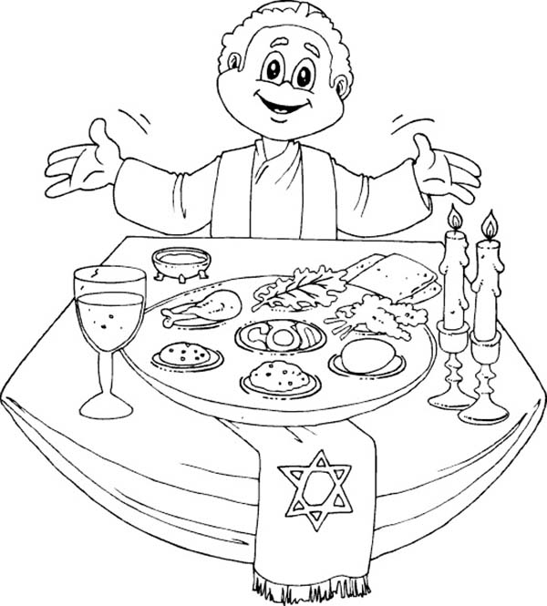 Having A Happy Passover Dinner Coloring Page - Download ...