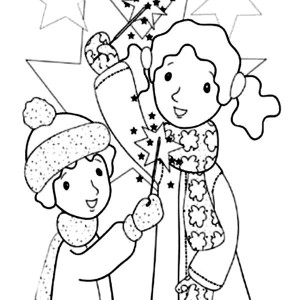 Kids Play With Sparklers And Fireworks Coloring Page