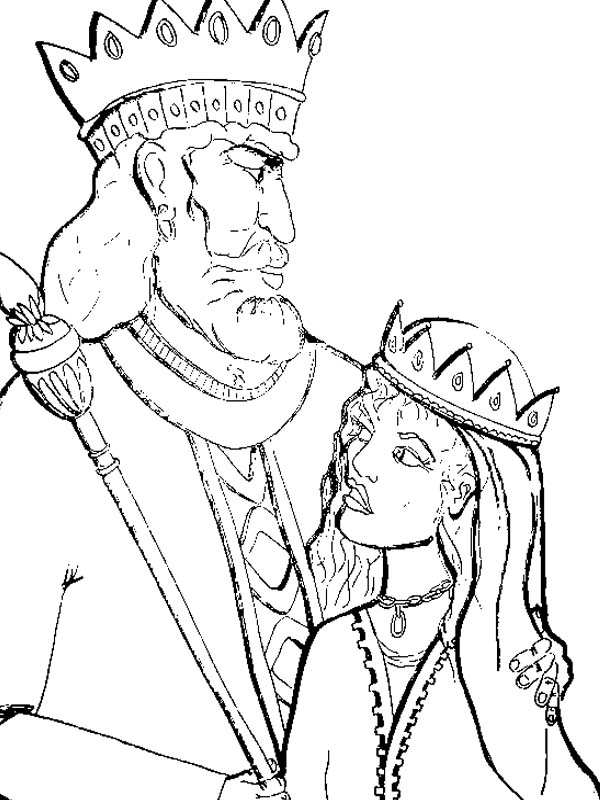 King Of Persia And Queen Esther In Purim Coloring Page Download