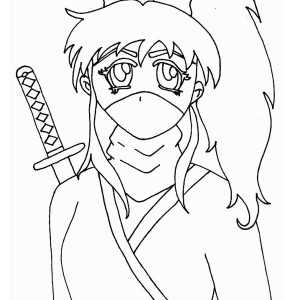Long Haired Ninja Girl Coloring Page