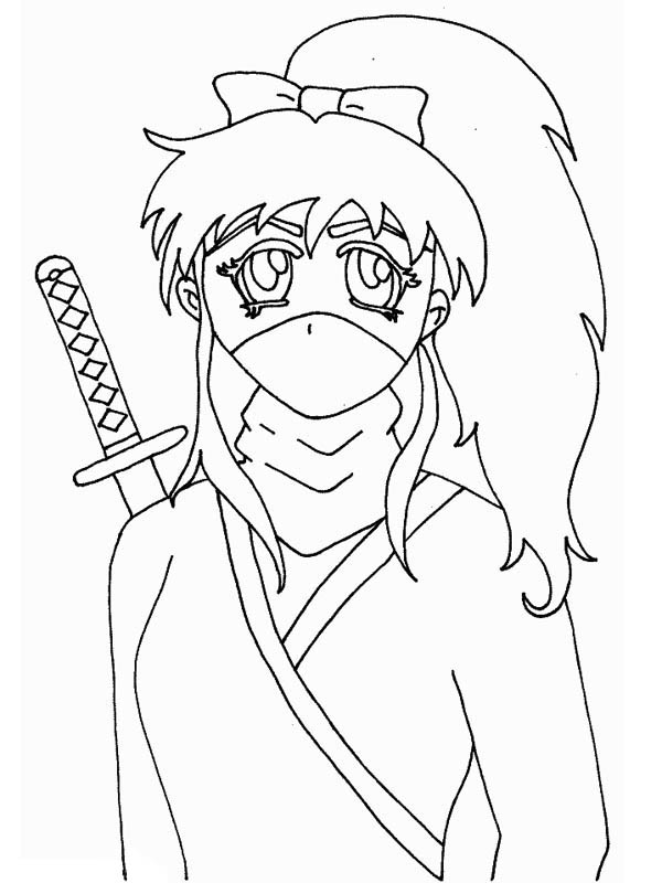 Long Haired Ninja Girl Coloring Page Download Print Online