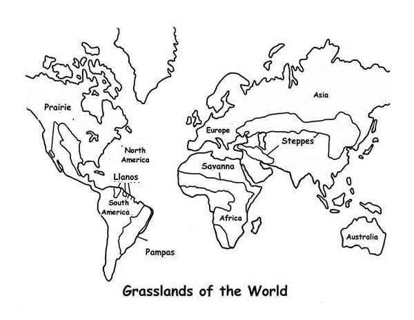 Map Grasslands Outline In World Map Coloring Page - Download & Print ...