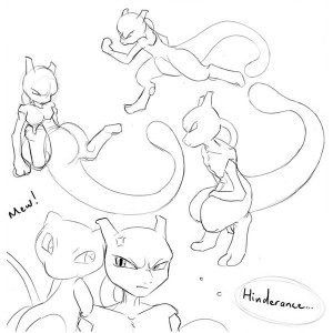 Mewtwo Awesome Sketches Coloring Page