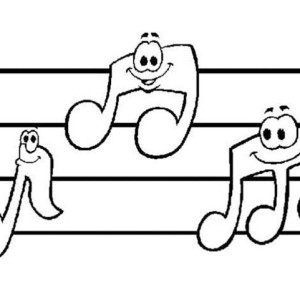Music Notes Smile Coloring Page