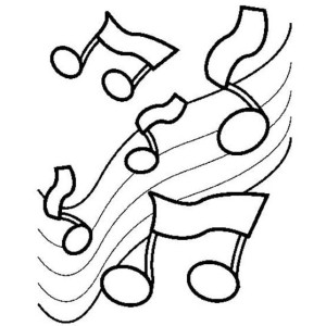 Musical Notes On The Scale In Music Notes Coloring Page