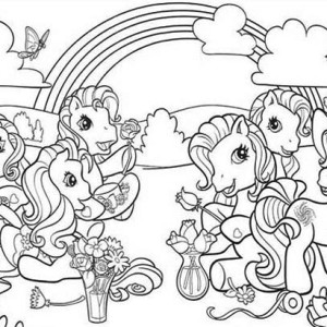 My Little Pony Doing Flower Arrangement Coloring Page