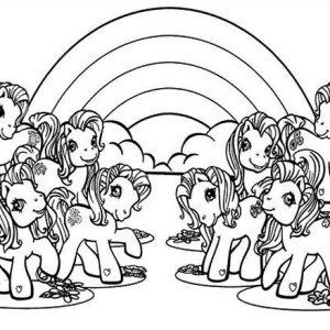 My Little Pony With Rainbow Background Coloring Page