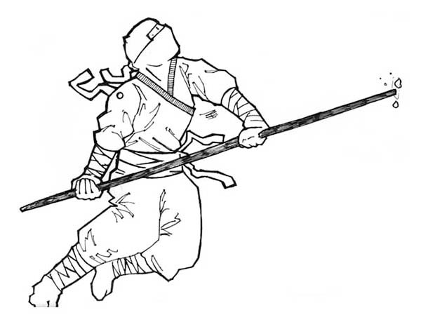 Ninja Going to Jump with a Toya Coloring Page - Download ...
