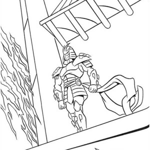 Ninja Standing On Rooftop Coloring Page