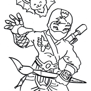 Ninja And Cute Smiling Bat Coloring Page