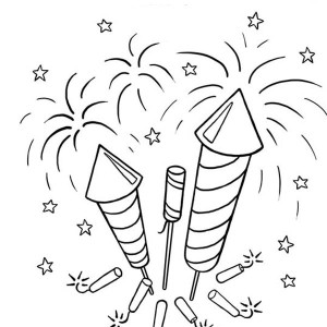 Picture Of Firecrackers And Fireworks Coloring Page