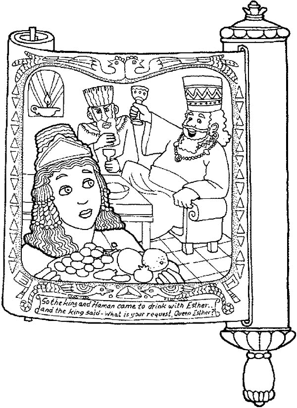 Picture of Purim in Scroll Coloring