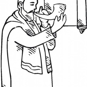Rabi Concentrate Blowing Shofar In Rosh Hashanah Coloring Page