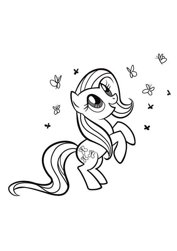 Rarity Playing With So Many Butterfly In My Little Pony Coloring
