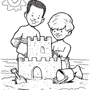 Sand Castle Create By Two Boys Coloring Page
