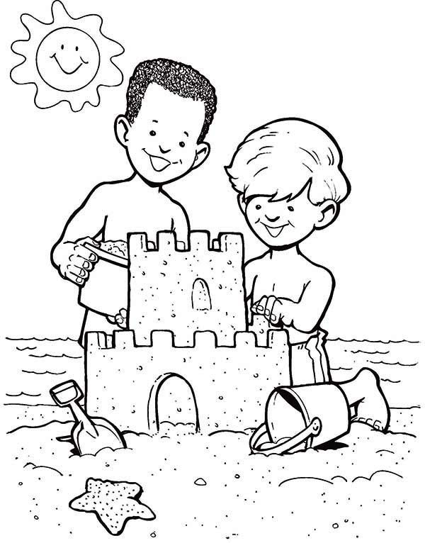 Sand Castle Create By Two Boys Coloring Page - Download ...