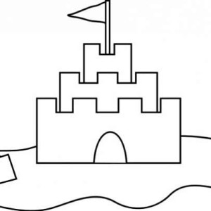 Sand Castle Outline Coloring Page
