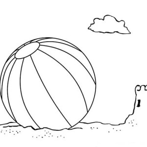 Sand Castle Ruin And Volley Ball Coloring Page