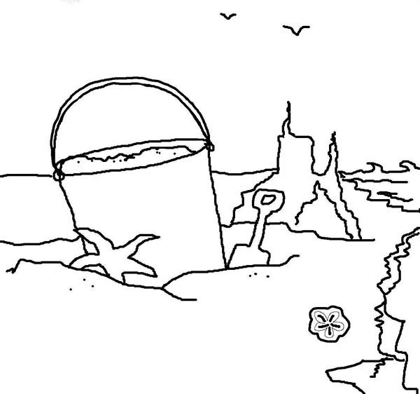 Sand Castle on the Beach Coloring Page