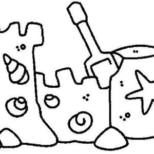 Sand Castle With Clamshell Ornament Coloring Page