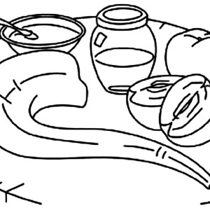 Shofar And Honey And Apple On The Table On Rosh Hashanah Coloring Page