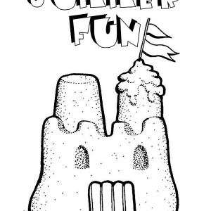 Summer Fun Play Sand Castle Coloring Page