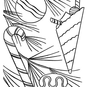 Sweet Candy Cane Coloring Page