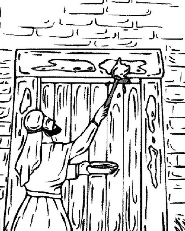 The Israelites Marking Their Door On Passover Coloring ...