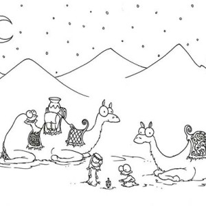 Two Camel In The Desert Coloring Page
